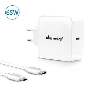 macker Top 65 W para USB C Type C Cargador Nuevo MacBook Pro (13 pulgadas), MacBook, Google Chromebook Pixel y Microsoft Lumia 950 (2 metros Cable ...
