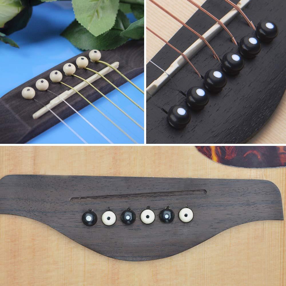 Paquete de 12 pines de puente de guitarra pines de puente de hueso de guitarra YuCool con herramienta de eliminaci/ón 6 picos de guitarra-negro blanco