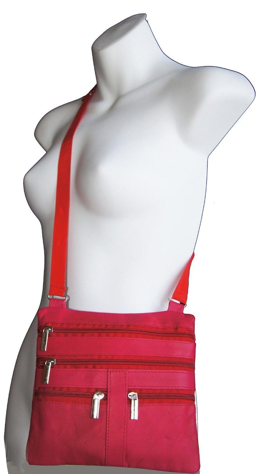 Pink Ladies Genuine Leather Cross Body Bag Satchel Messenger Bag 48'' Strap by Wallet (Image #2)