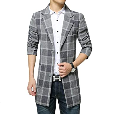 Mens Ntel Mens Tweed Plaid Trench Chaquetas Trun Down Ntel ...