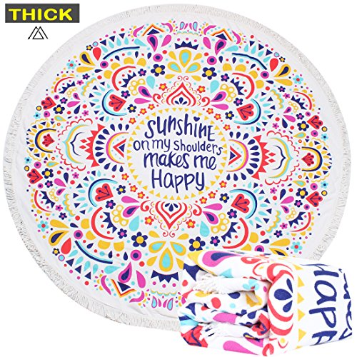 HAPEE Thick Round Beach Towel, Circle Beach Blanket - Soft, Quick Dry ()