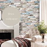 Timeet Brick Peel and Stick Wallpaper Self-Adhesive 3D Stone Textured Contact Paper Roll Decor Film for Room 17.7in x 16.4ft-Grey