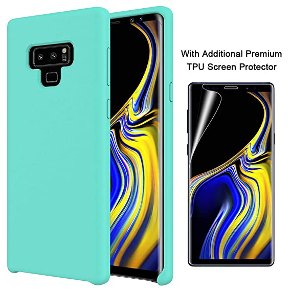 new arrival 7156b 27e59 Orzero Liquid Silicone Gel Rubber Case for Samsung Galaxy Note 9 2018 Full  Body with Additional Premium TPU Screen Protector Shock Absorbing Ultra ...
