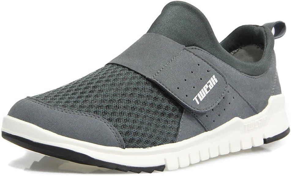 Tweak Zapatillas para hombre con cierre de velcro, malla, peso ligero, color gris, talla 44: Amazon.es: Zapatos y complementos