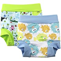 Leideur Baby Swim Nappies for Kids Cover Diaper High-Waisted Swimming Shorts (0-2 Years, Light Blue+Green)