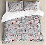 Paris Twin Duvet Cover Sets 4 Piece Bedding Set Bedspread with 2 Pillow Sham, Flat Sheet for Adult/Kids/Teens, France Themed Image with French Flag Dogs Eiffel Tower Croissant Vintage City of Love