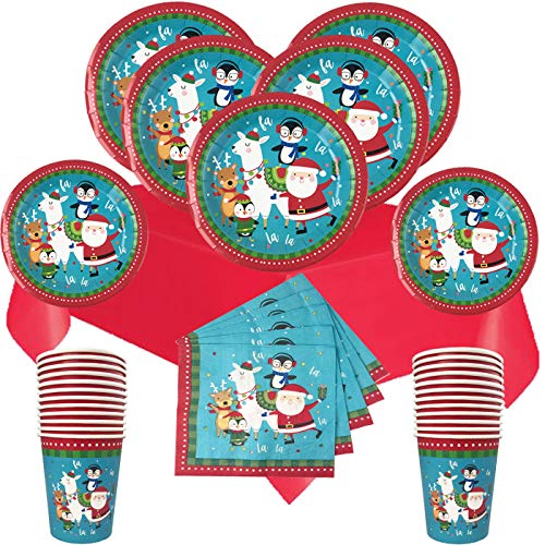 Christmas Disposable Dinnerware Set for Your Holiday Christmas Party - Santa Claus, Llama and Friends - Dinner Plates, Dessert Plates, Cups, Napkins, Table Cover - 113 Piece (Service for 24)