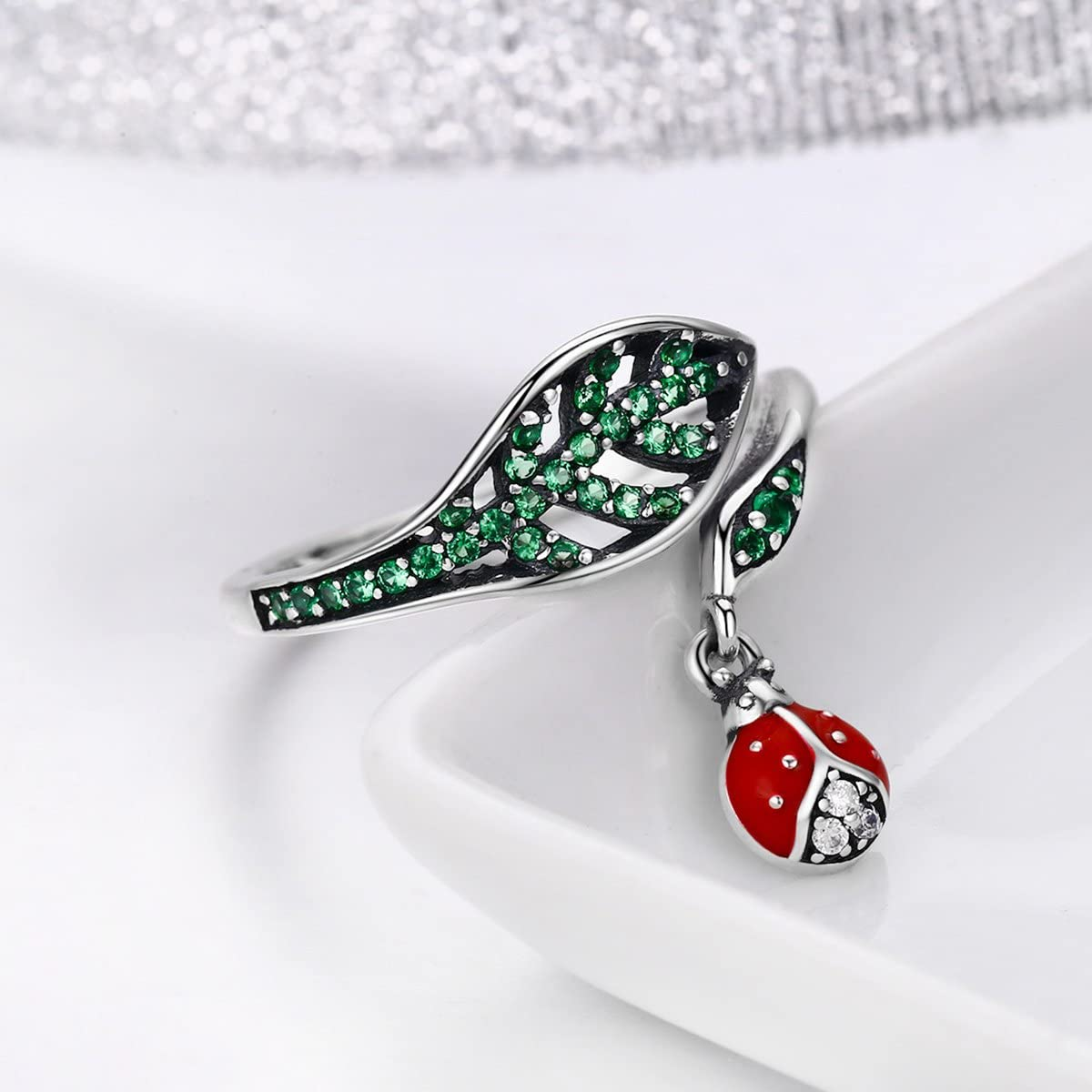 The Kiss Resting Ladybug Dangle in Tree Leaves 925 Sterling Silver Adjustable Ring Green CZ /& Red Enamel