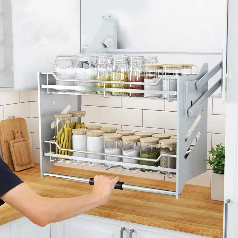 WHIFEA Pull-Down Dish Rack System, Kitchen Shelf 2 Tier ...