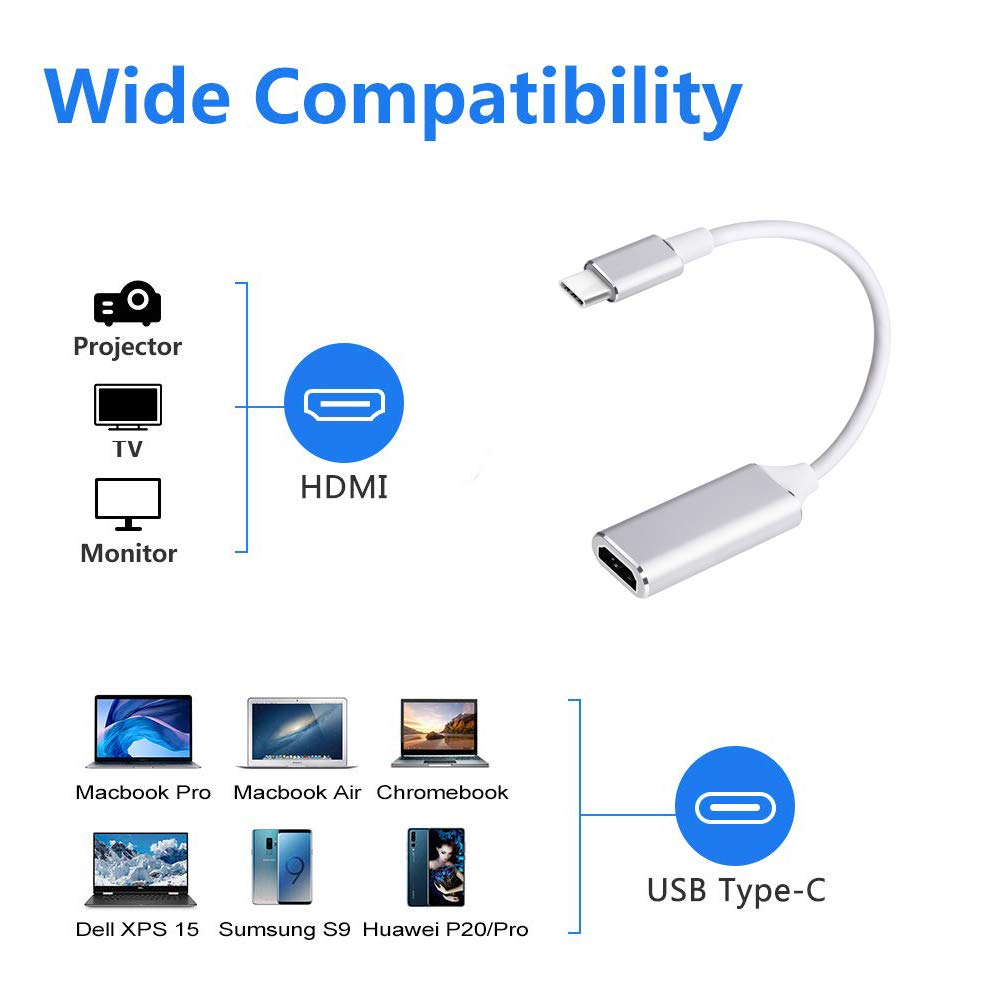 Pixelbook and More Surface Book 2 Thunderbolt 3 Compatible,for MacBook Pro 2018//2017//2016 USB 3.1 Type-C to HDMI Cable Adapter USB C to HDMI Adapter 4K@ 60HZ Samsung S9 S8 Plus Note 8