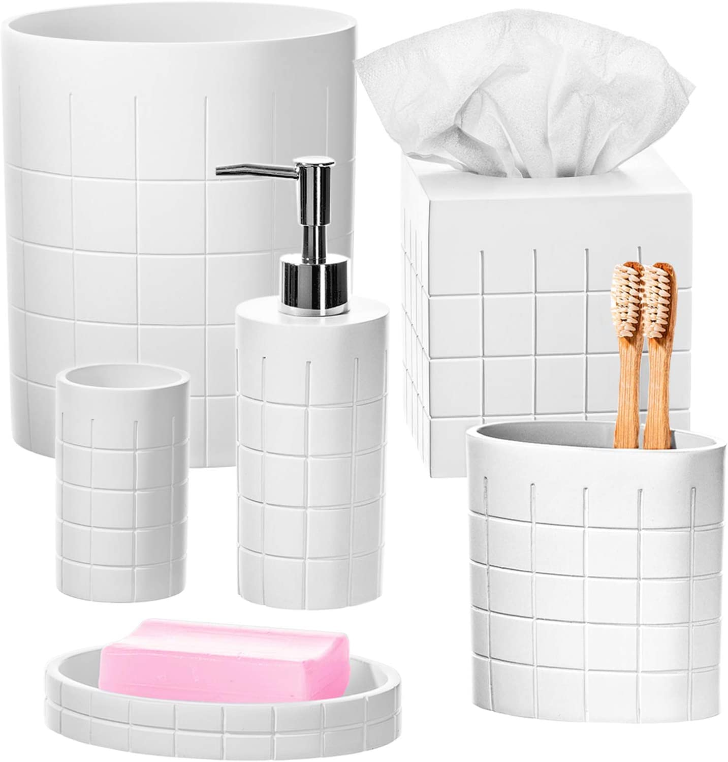Polar White Bathroom Accessories Set - 6 Piece Bathroom Accessory Set Collection Features Soap Dispenser, Toothbrush Holder, Tumbler, Soap Dish, Square Tissue Cover and Wastebasket