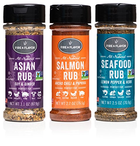 Fire amp Flavor Natural Rub Variety Pack with Asian Salmon and Seafood Rubs Pack of 3