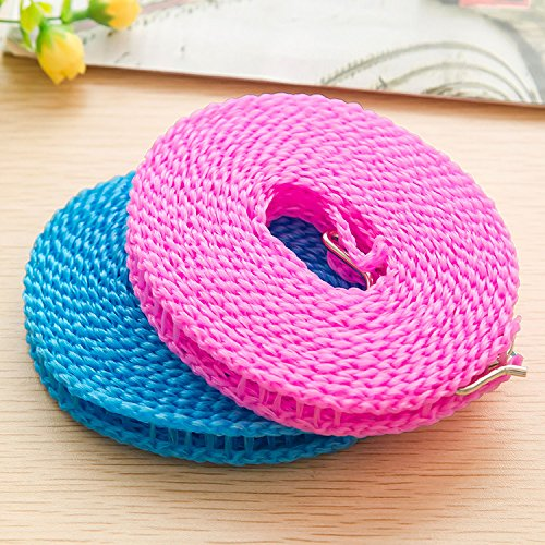 Xinshan Windproof Clothesline, Outdoor Laundry Fence Hanging Clothes Rope , Easy for Travelling Cloths/ Dresses Hanger, Two Packs (blue and pink)