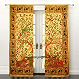 THE ART BOX Window Curtains Indian Tree of Life Window Curtains Yellow Bird Pattern Window Drapes Set of 2 Tapestry Window Curtains Hanging Valances For Window Room Divider By