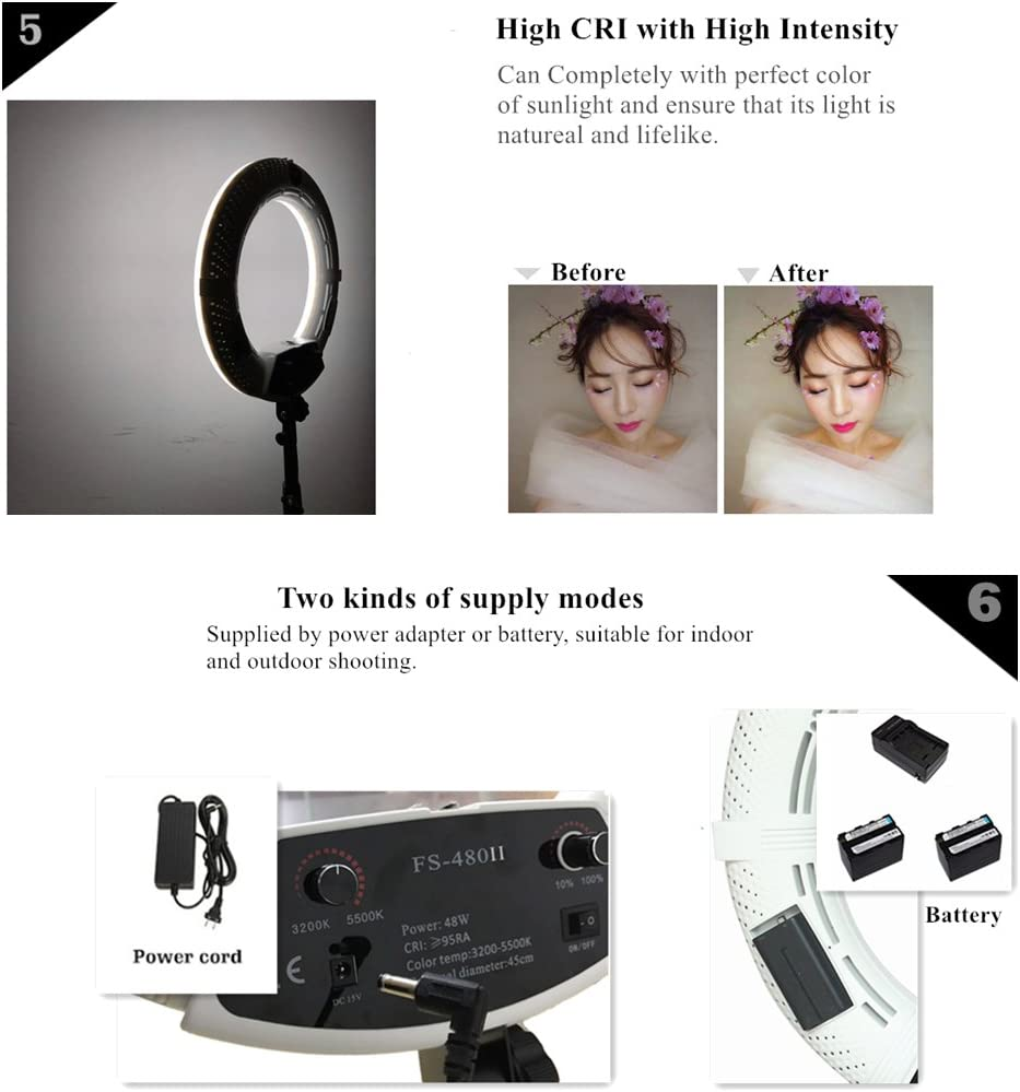 Stand and Travel Bag Pink Makeup Mirror Yidoblo 18 LED Ring Light Kit Bi-Color Dimmable Photo Studio Video Portrait Film Selfie YouTube Photography Lighting Set with Phone//Camera Holder