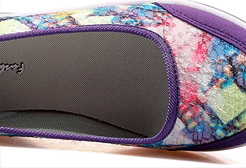 GFONE Women's Floral Flower Casual Summer Wedge Platform Loafers Thick Soles Increased Sneakers Boat Shoe Slip On Purple ZL9W53Ewy