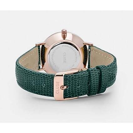 Amazon.com: CLUSE Minuit Rose Gold Champagne Emerald Lizard CL30052 Womens Watch 33mm Leather Strap Minimalistic Design Casual Dress Japanese Quartz ...