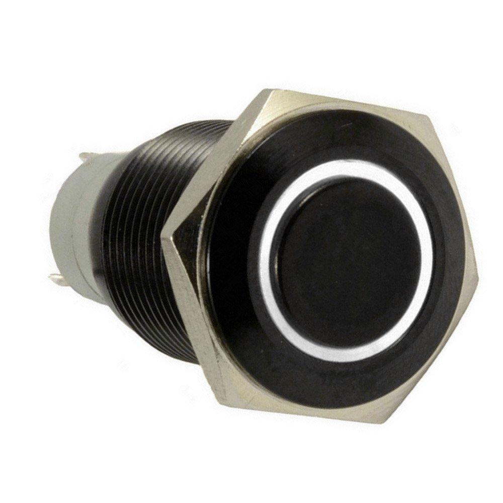 Supmico Auto 12V 16mm simbolo luce Verde LED leggero lampada cerchio metallo premi il bottone interruttore a levetta
