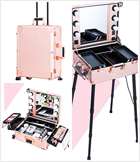 BYCDD Viajes Maleta de Maquillaje Profesional, Aluminio Organizador Estuche Cosméticos Bolsas Belleza Carretilla,Pink: Amazon.es: Hogar