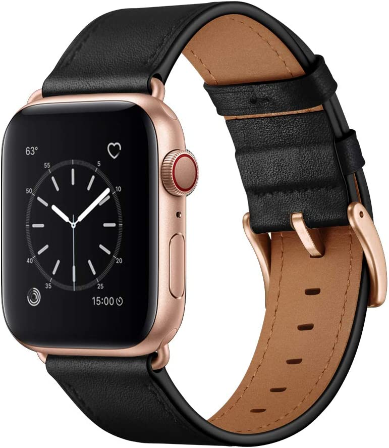 OUHENG Compatible with Apple Watch Band 40mm 38mm, Genuine Leather Band Replacement Strap Compatible with Apple Watch Series 6/5/4/3/2/1/SE, Black Band with Rose Gold Adapter