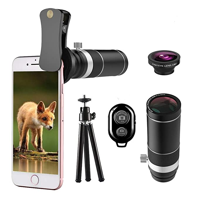 reputable site 95a65 56773 Cell Phone Camera Lens, UMTELE Phone Lens Kit, 20X Telephoto Lens with 180°  Fisheye Lens + Mini Tripod for iPhone 8/7/6s/6Plus/5, Samsung Galaxy, ...