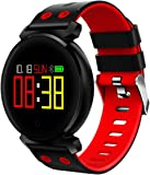 Waterproof Fitness Tracker - Hathcack Ai03 Super Long Standby Activity Monitor and Sleeping Management Heart Rate Monitor Pedometer SMS Calls Reminder OLED screen Smart Wristband for IOS/Android - red