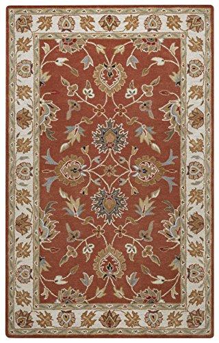 Rizzy Home Valintino Collection Wool Rust/Blue/Khaki/Black/Tan/Camel Border Area Rug 9' x - Camel Wool Tan
