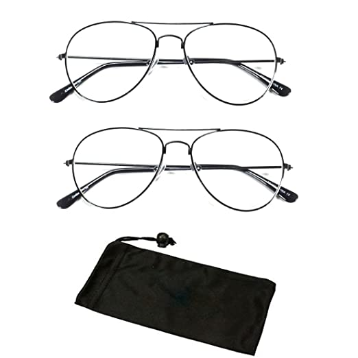 f01975a65a Amazon.com  ( CHR40) 2 Pairs Readers Metal Reading Glasses Black ...
