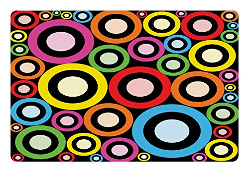 Lunarable Groovy Pet Mat for Food and Water, Fashionable and Funky Retro Ring Shaped Modern Art Geometric Revival Artwork, Rectangle Non-Slip Rubber Mat for Dogs and Cats, Black Multicolor