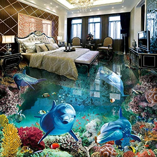 カスタム3D床絵画壁画写真壁紙水中世界イルカリビングルーム浴室防水-150X120CM