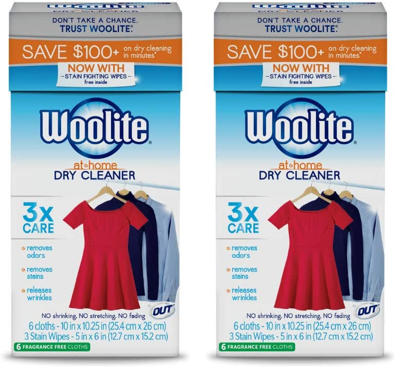 Woolite at-Home Dry Cleaner, Fragrance Free, 12 Cloths