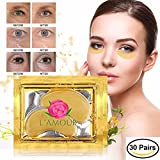 30 pairs of 24K Gold Powder Crystal Gel Collagen Eye Masks   For Anti-Aging & Moisturizing; Reducing Dark Circles, Puffiness, Wrinkles   By L'Amour