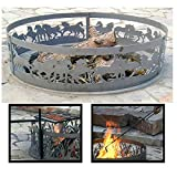 PD Metals Steel Campfire Fire Ring Mustang Design - Unpainted - with Fire Poker and Cooking Grill - Large 48 d x 12 h Plus Free eGuide