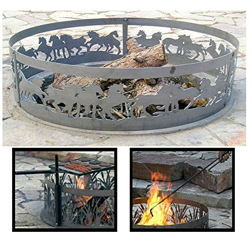 PD Metals Steel Campfire Fire Ring Mustang Design - Unpainted - with Fire Poker and Cooking Grill - Large 48 d x 12 h Plus Free eGuide by PD Metals