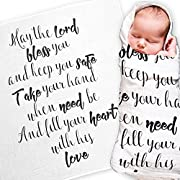 Baby Swaddle Blanket with Baby Quote - Muslin Swaddle Wrap with Scripture Quote for Baby Shower, Christening Gift or Baptism Gift - Receiving Blanket, Privacy Throw