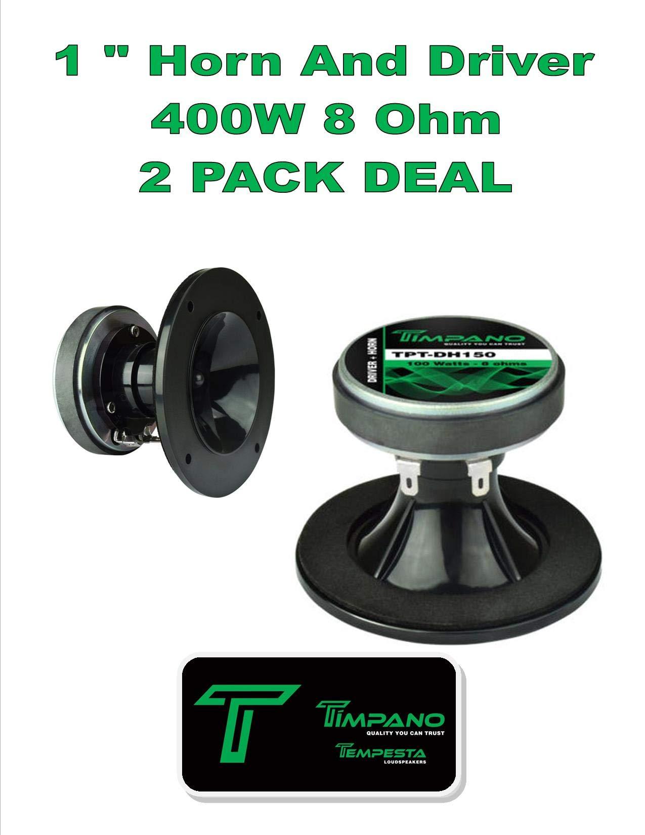 (2) Timpano TPT-DH150 400W 1'' Ferrite Compression Horn Driver 8 Ohm 1 Pair