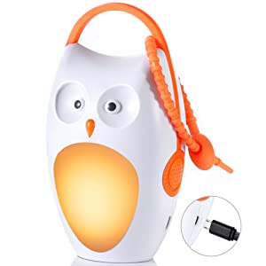 Baby Sleep Soother Sound Machine - Portable & Rechargeable White Noise Machine with Amber Nightlight for Baby, Kids, Home & Travel