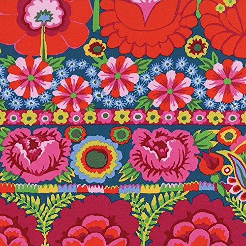 Free Spirit Kaffe Fassett Artisan Embroidered Flower Border Red (Red Fabric Borders)