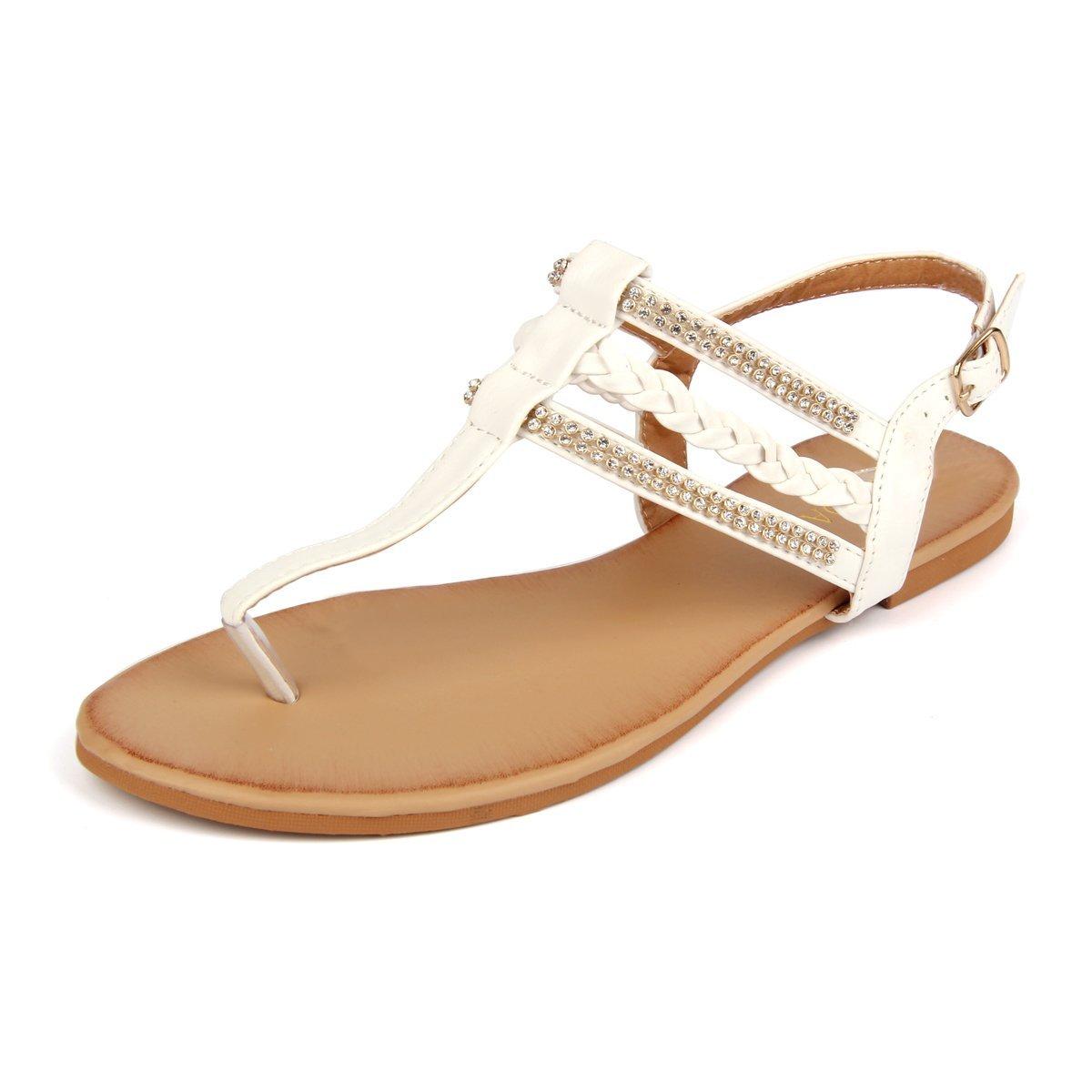 MuDan Women's Strappy Rhinestones Thong Buckle Strap Gladiator Flat Sandals (9 B(M) US, White)