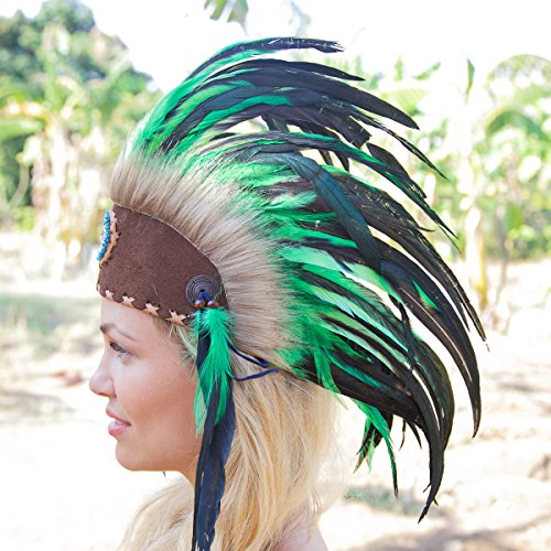 Novum Crafts Feather Headdress | Native American Indian Inspired | Green