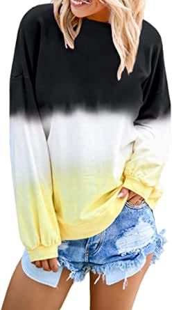 FIYOTE Women Casual Tie Dye Long Sleeve Sweatshirt Color Block Pullover Tops Blouses S-2XL