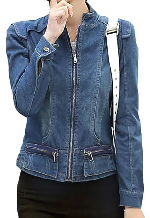 Cruiize Women S Stand Collar Zip Up Long Sleeve Moto Outdoor Denim