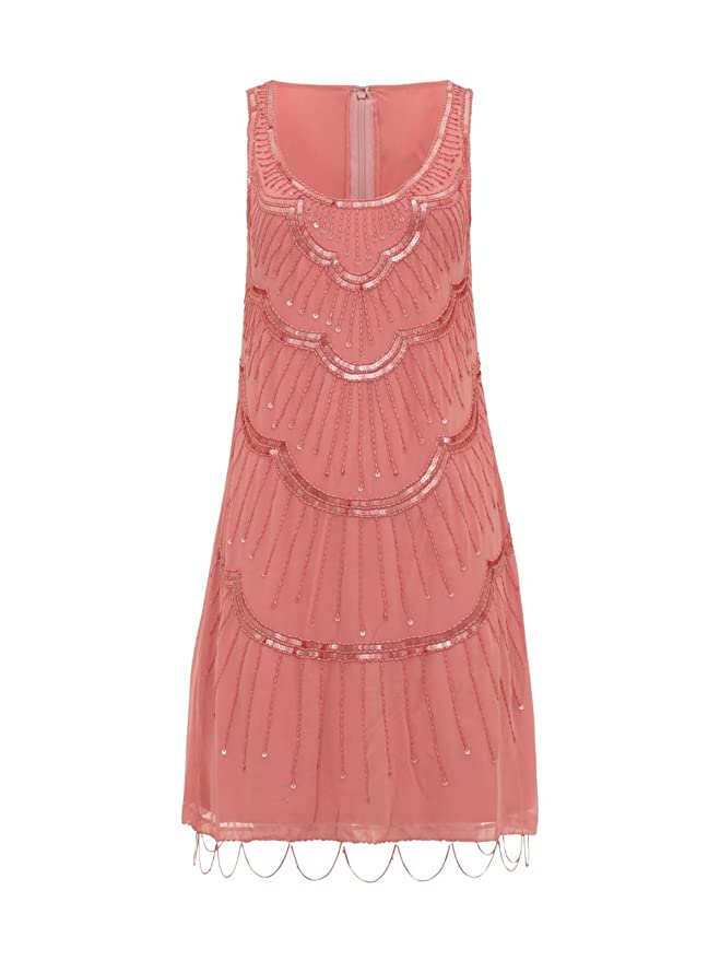 Womens 1920\'s Coral Orange Charleston Flapper Gatsby Beaded Hemline ...