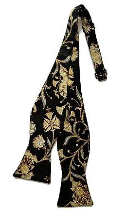 cf7eb722dc0e Men's Self-Tie Bow Tie Black with Gold Metallic Oriental Floral Design (Mens )