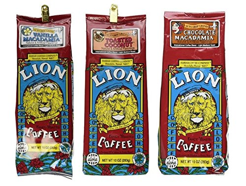 Lion Coffee 3 Flavor Bundle-10 oz Grind (Chocolate Macadamia, Vanilla Macadamia, & Toasted Coconut)