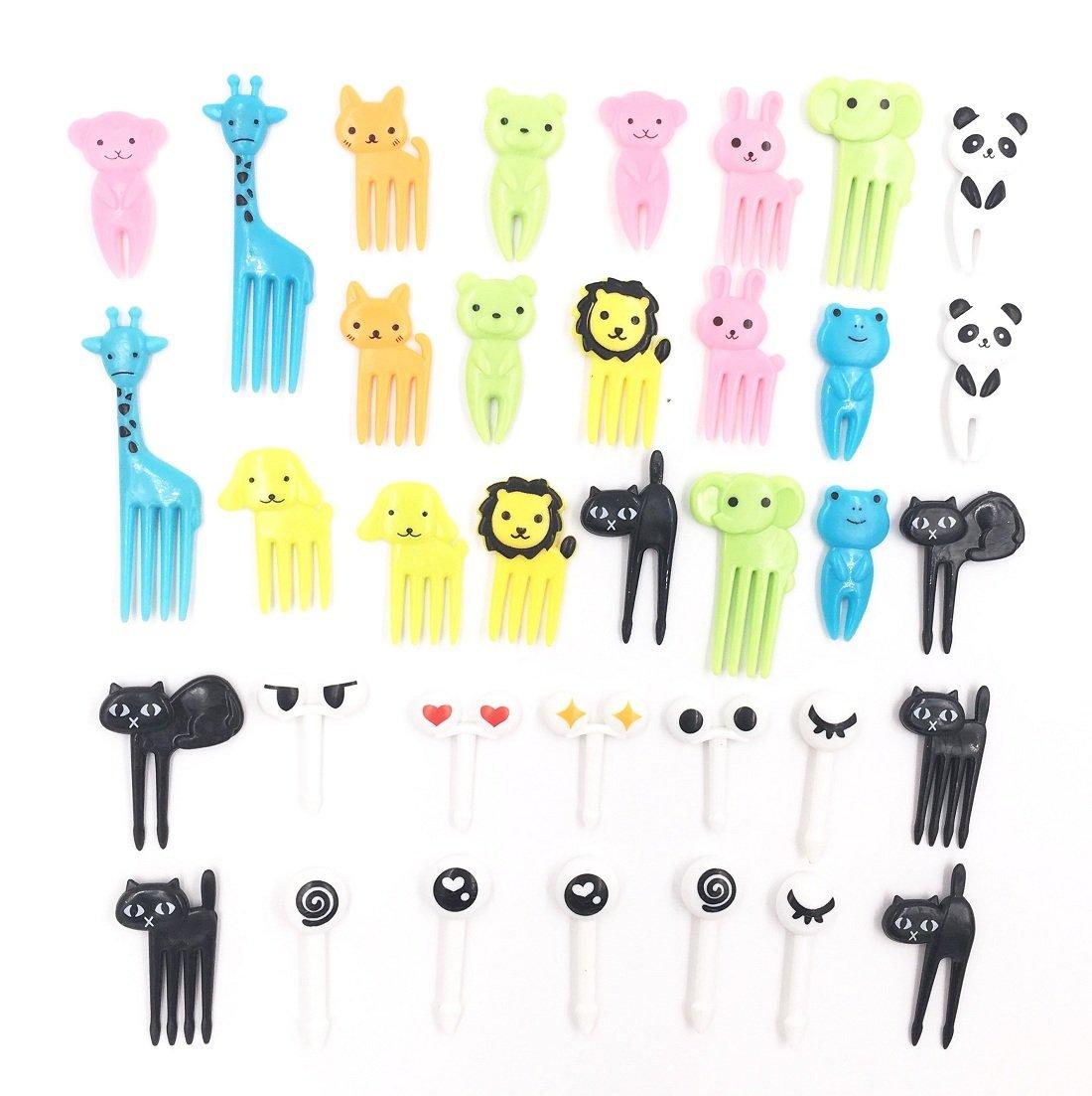 Sakolla Set of 36 Lovely Animal Food Fruit Picks Forks Bento Box Lunch Box Decor Animal Mini Cartoon Toothpick Bento Lunch Decorative