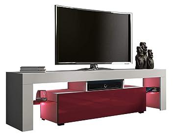 Meuble Tv 160 Cm Blanc Mat Et Rouge Bordeaux Laque Avec Led Rgb