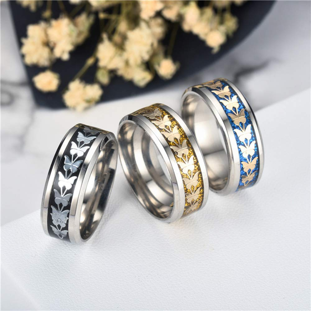 Uscharm Women Rings Bohemian Vintage Silver Rings Boho Butterfly Rings Finger Rings Golden (GD12) by Uscharm (Image #4)