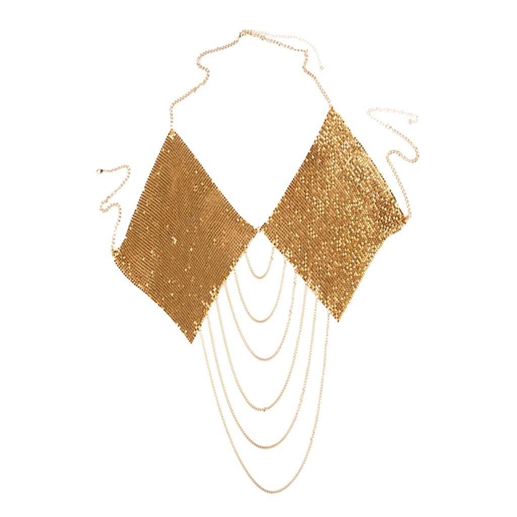 Dovewill Bling Aluminum Sequins Rhombic Bikini Bra Top Body Chain Harness Necklace Tassel Pendant Fashion Lady Summer Jewelry