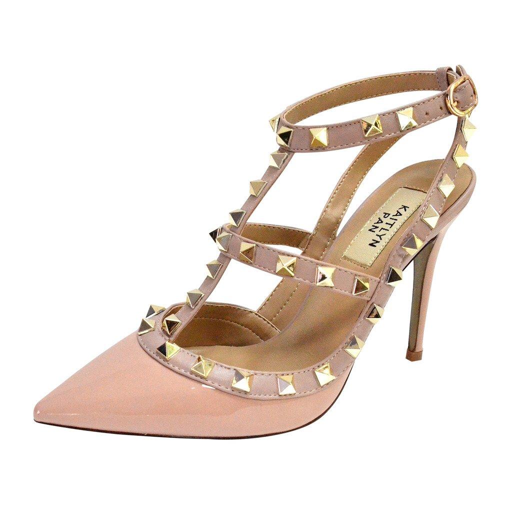 Kaitlyn Pan Rockstud Slingback High Heel Leather Pumps (8 US/38EU/39CN, Nude Patent/Nude Straps/Gold Studs)